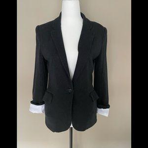 Talula Aritzia Size 6 One Button Pima Cotton Blazer Dark Grey Color